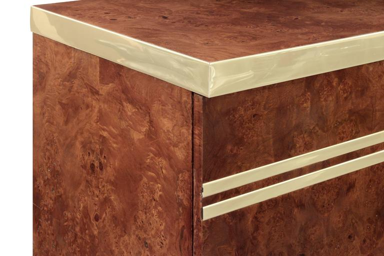 Lift-Top Bar with Brass Accents by Pierre Cardin In Excellent Condition For Sale In New York, NY