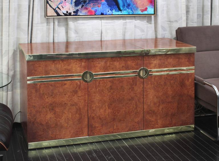 Lift-Top Bar with Brass Accents by Pierre Cardin For Sale 3