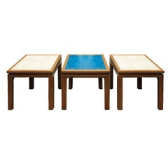 "Harvey Probber Set of Three Coffee Tables with Artisan ""Enamel on Copper"" Tops"