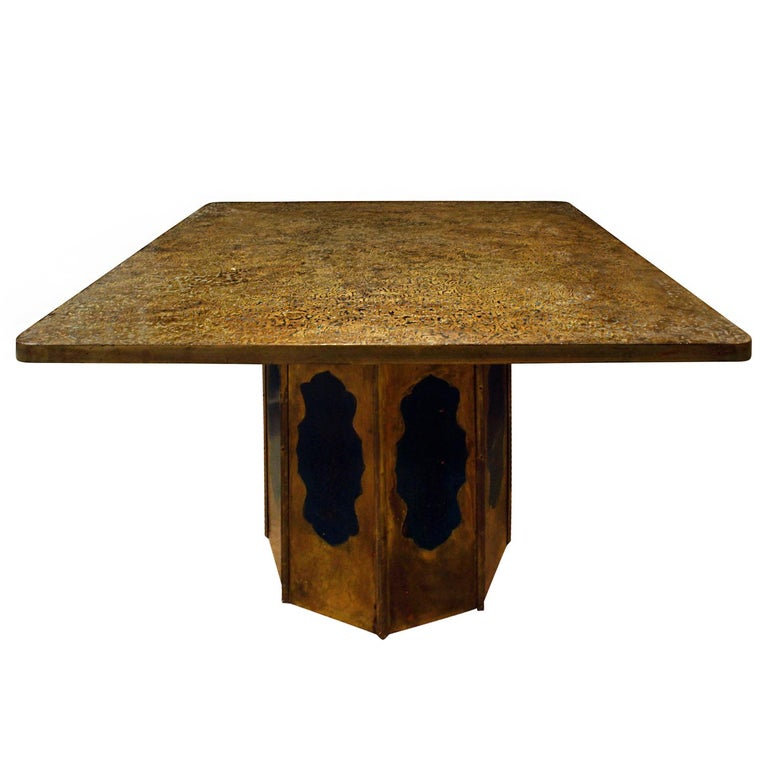 """Philip & Kelvin LaVerne """"Etruscan Round"""" Game Table, 1970s For Sale"""