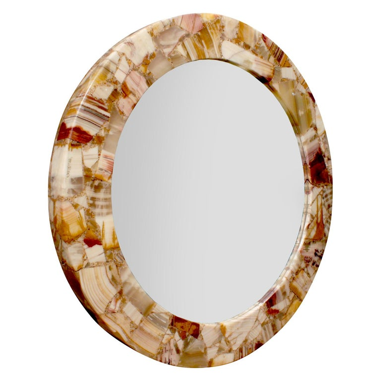Round studio made wall hanging mirror with onyx frame by Arturo Pani for Muller's of Mexico, Mexico, 1960s (signed