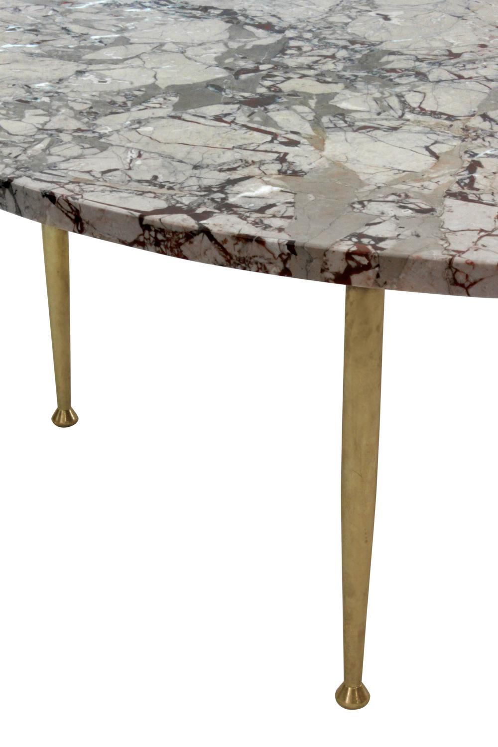 Elegant Coffee Table In Marble With Brass Legs For Sale At 1stdibs