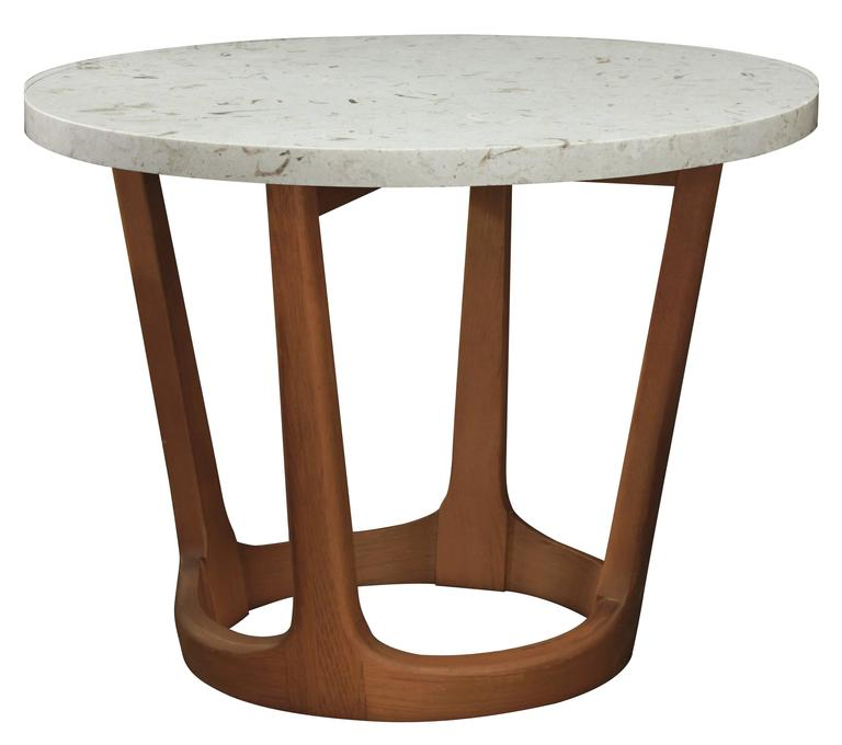 Pair of occasional tables with fossilized marble tops for for Marble table tops for sale