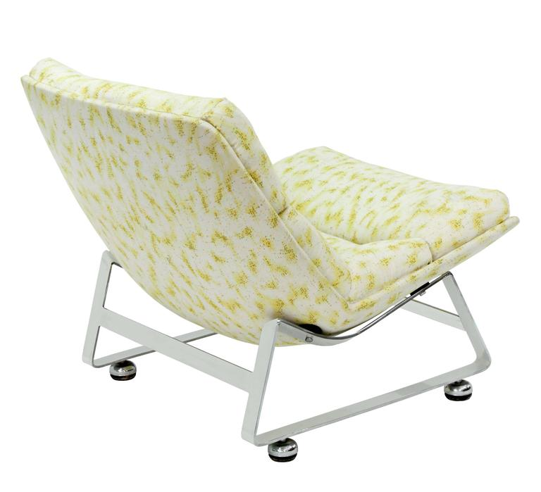 American Scoop Lounge Chair with Steel Base For Sale