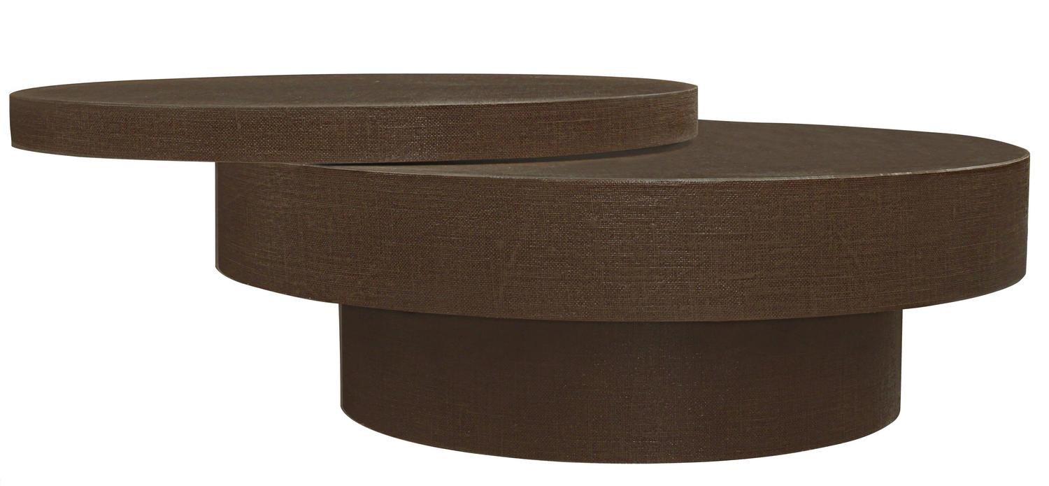 Chic Coffee Table In Lacquered Linen With Rotating Top At 1stdibs