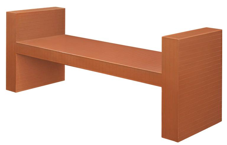 Sculptural bench clad in scored leather by Karl Springer, American, 1970s. This bench can be re-lacquered any color to spec.