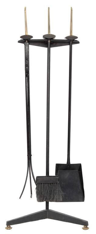 Mid-Century Modern Wrought Iron and Brass Fireplace Set by Donald Deskey For Sale