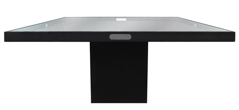 Large Chic Square Pedestal Dining Table In Black Lacquer With Inset Wire  Glass Top By Juan