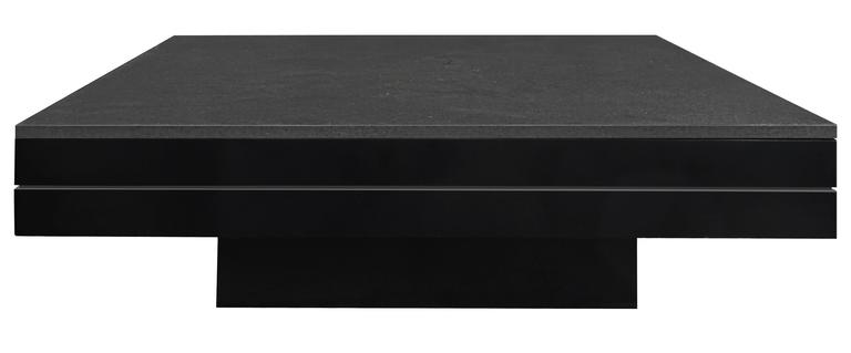 Square Coffee Table In Black Lacquer With A Thick Black Granite Top By Juan  Montoya For
