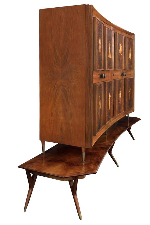 Mid-Century Modern Illuminated Four-Door Cabinet with Figural Inlays by Eugenio Diez For Sale
