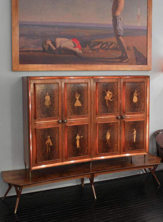 Illuminated Four-Door Cabinet with Figural Inlays by Eugenio Diez For Sale 2