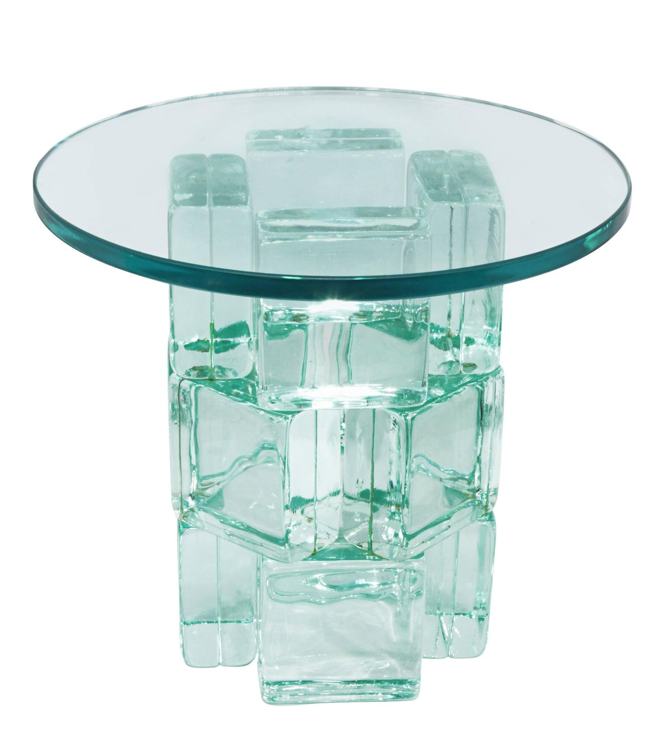 Chic Occasional Tables With Solid Glass Blocks By Imperial Imagineering For Sale At 1stdibs