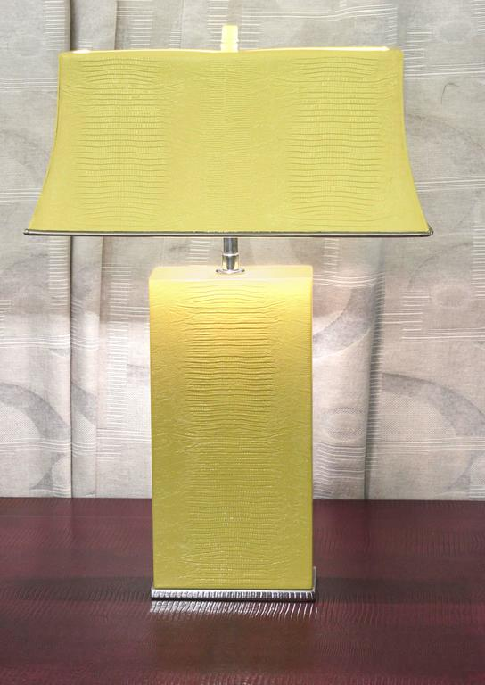 Late 20th Century Exceptional Table Lamp in Embossed Lizard Leather by Karl Springer For Sale