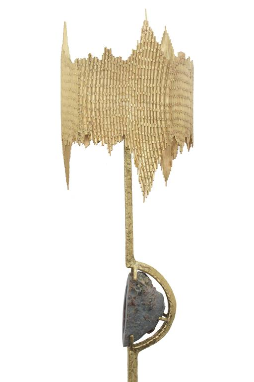 """Unique and exceptional lamp in hand-welded brass with mounted agate and perforated welded shade by Jacques Duval-Brasseur, France 1970's (signed """"JD Brasseur"""" on leg and signed """"JD Brasseur"""" in the middle near agate).  Jacques Duval-Brasseur was a"""