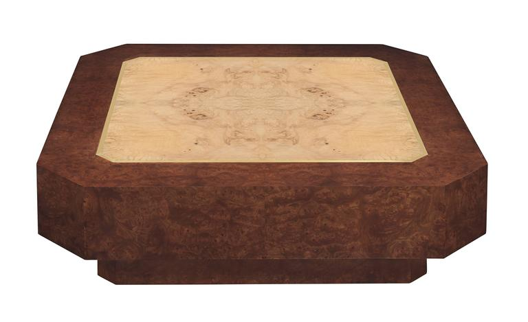 Early and rare DiGerlando Coffee Table in ash burlwood with brass inlays and base in Carpathian elm by Karl Springer, American, 1970s (retains original label on bottom which reads