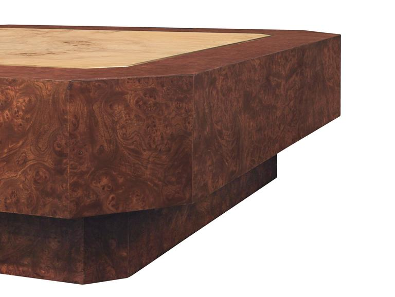 Mid-Century Modern DiGerlando Coffee Table in Ash Burl with Brass Inlays by Karl Springer For Sale