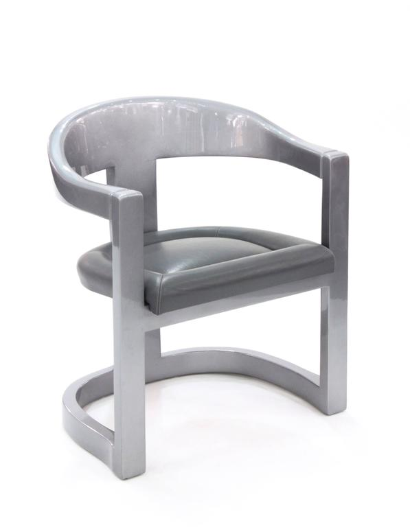 Set Of Four Onassis Chairs In Metallic Gray Lacquer By