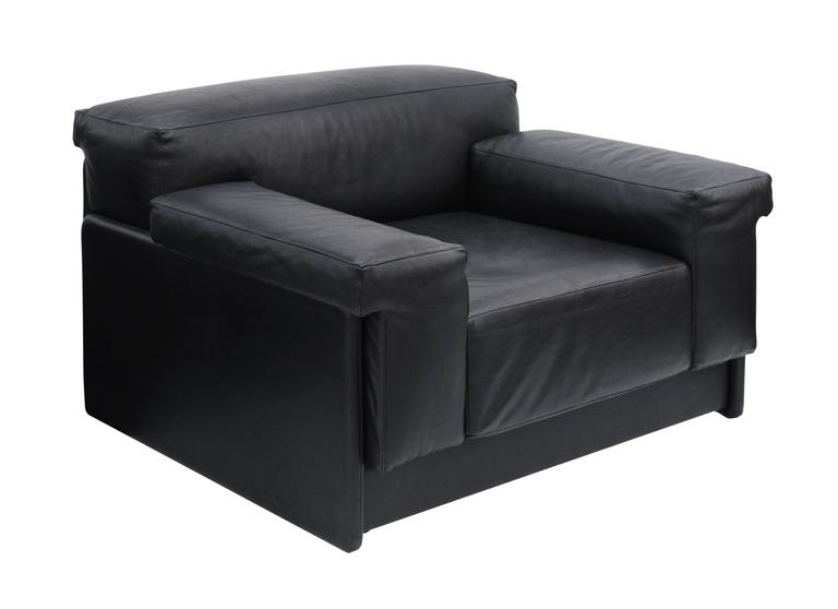"Pair of ""Raphael Lounge Chairs"" in Black Leather by Harvey Probber 2"