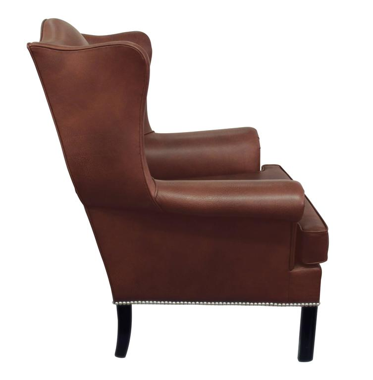 Mid-Century Modern Small-Scale Leather Wing Chair by Edward Wormley for Dunbar For Sale