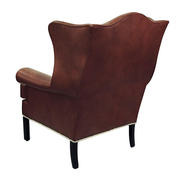 American Small-Scale Leather Wing Chair by Edward Wormley for Dunbar For Sale