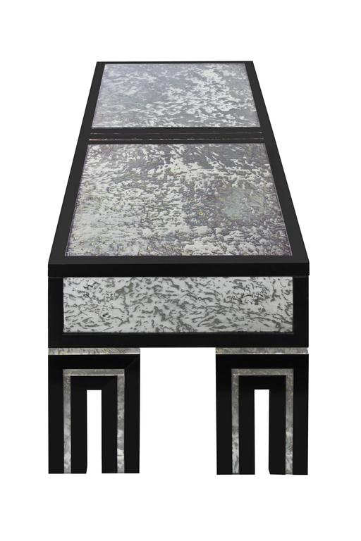 American Ebonized Coffee Table with Mottled Antique Glass by James Mont For Sale