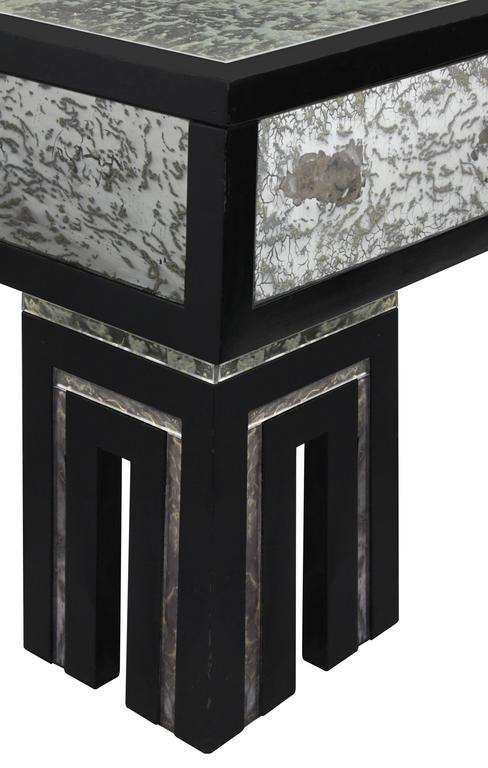 Ebonized Coffee Table with Mottled Antique Glass by James Mont In Excellent Condition For Sale In New York, NY