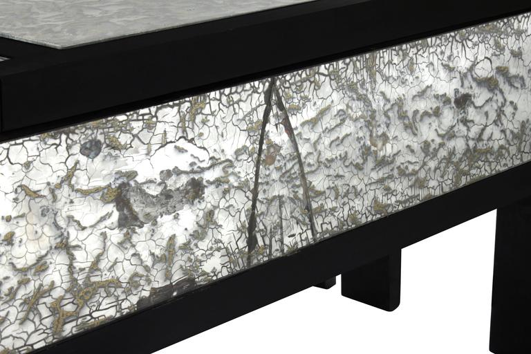 Mid-20th Century Ebonized Coffee Table with Mottled Antique Glass by James Mont For Sale