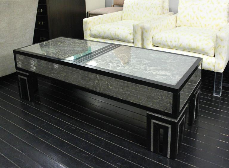 Ebonized Coffee Table with Mottled Antique Glass by James Mont For Sale 2