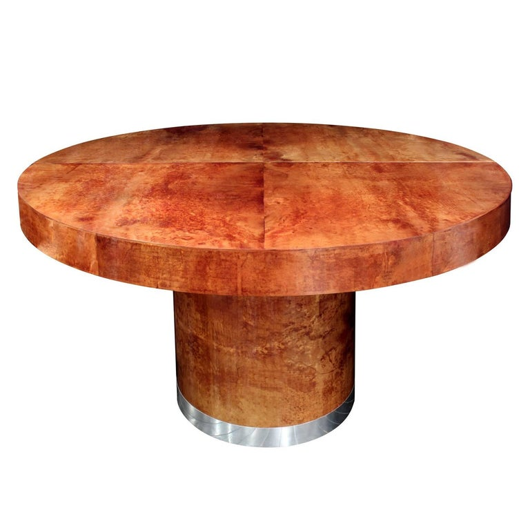 Round Lacquered Goatskin Dining Table by Ron Seff For Sale