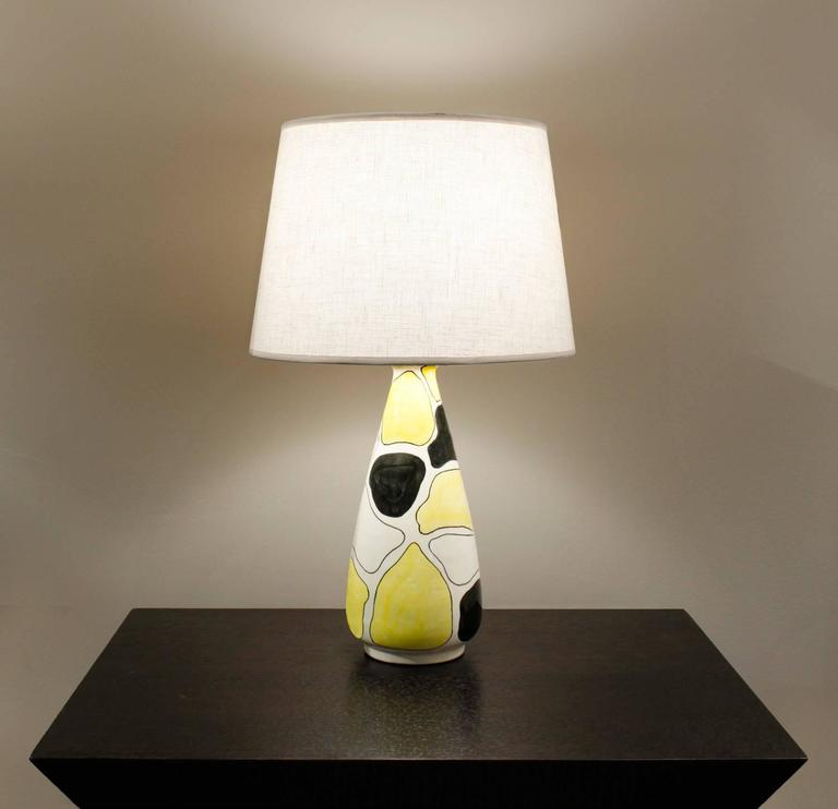 Italian Hand Decorated Studio Made Table Lamp, 1950s For Sale