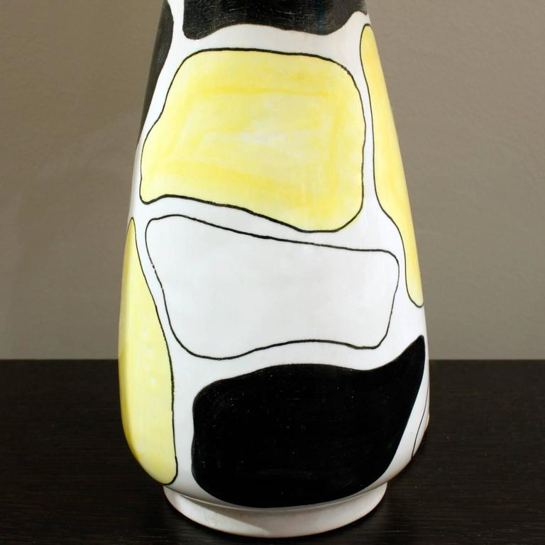 Ceramic hand decorated studio made table lamp, Italian, 1950s (signed by artist on bottom with orginal