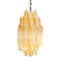 "Venini ""Trilobo"" Chandelier with Clear and Yellow Glass Rods, 1960s"