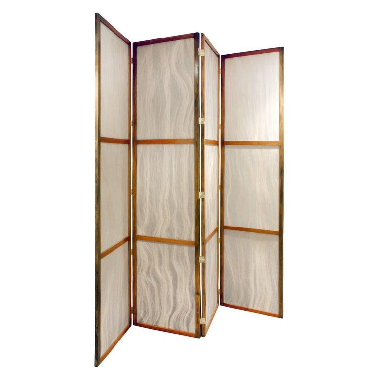 Hand-Crafted Pair of Tall Screens with Inset Horse Hair Panels, 1960s For Sale