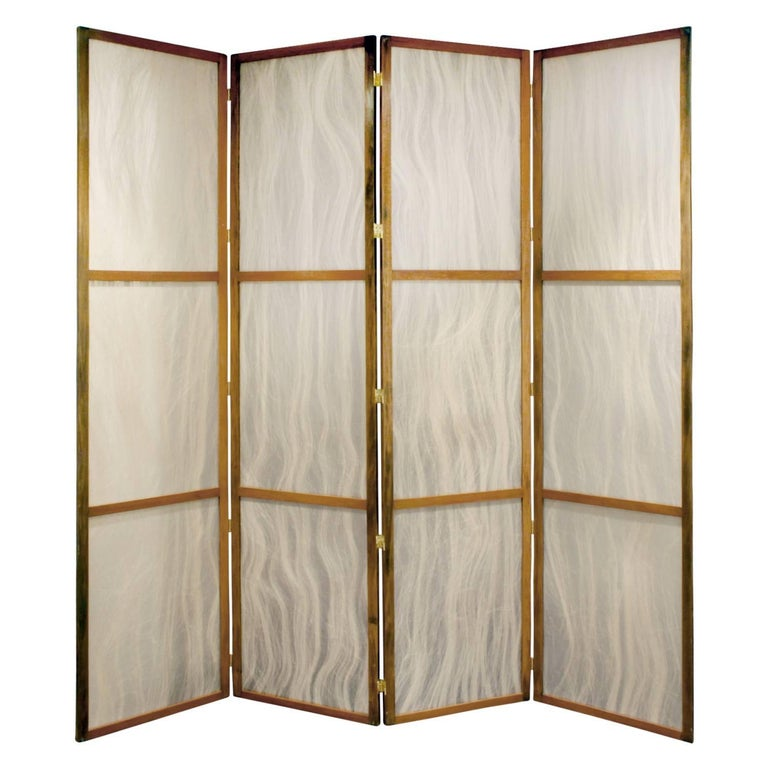 Mid-Century Modern Pair of Tall Screens with Inset Horse Hair Panels, 1960s For Sale