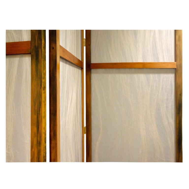 Pair of Tall Screens with Inset Horse Hair Panels, 1960s In Excellent Condition For Sale In New York, NY