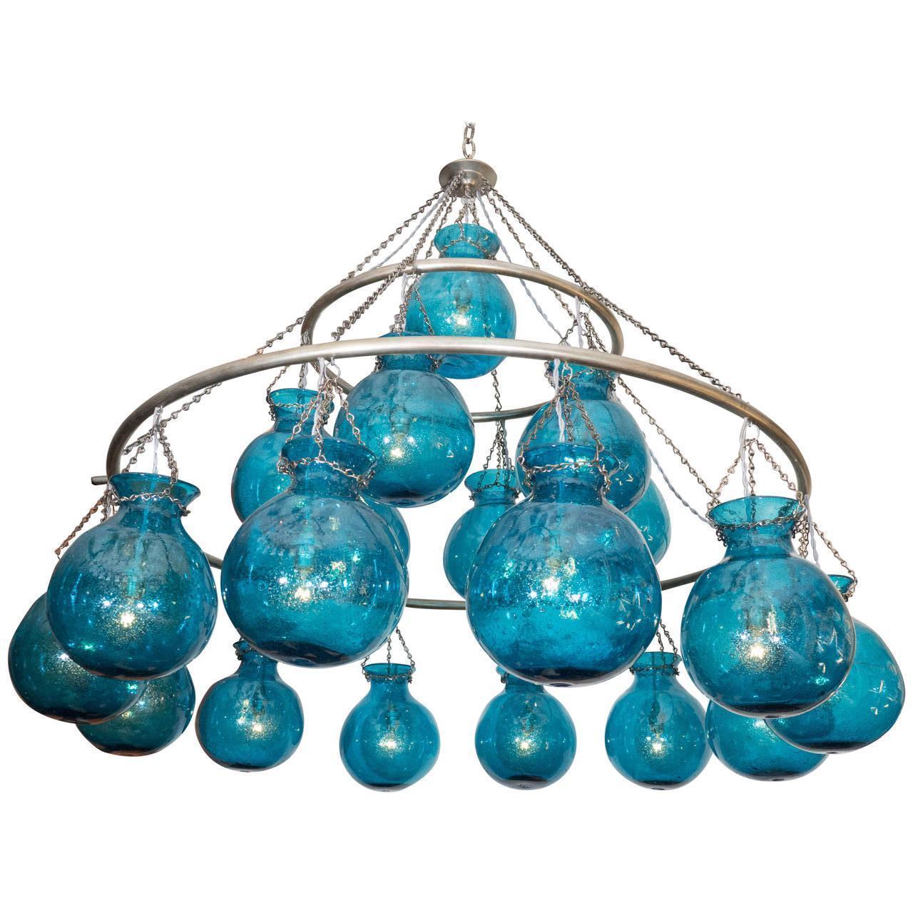 Egyptian Handblown Nile Blue Large Glass Globe Chandelier