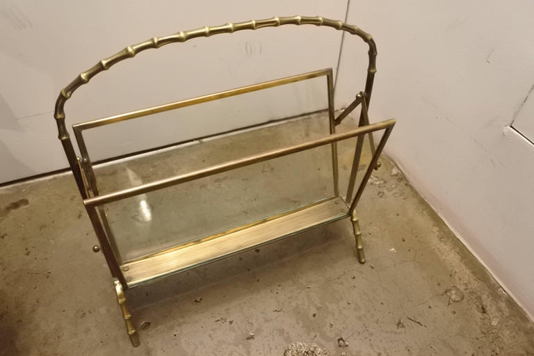 Beautiful faux bamboo magazine rack by acclaimed designer Maison Baguès. Wonderful original condition.