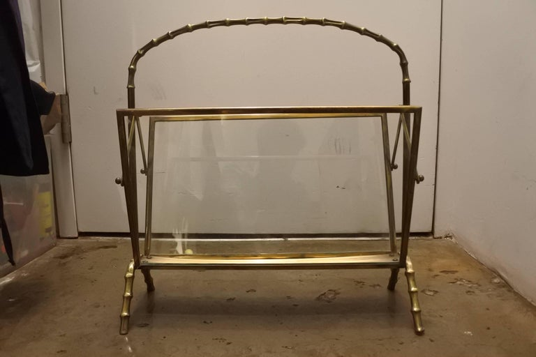 Art Deco Maison Baguès Brass and Glass Magazine Rack For Sale