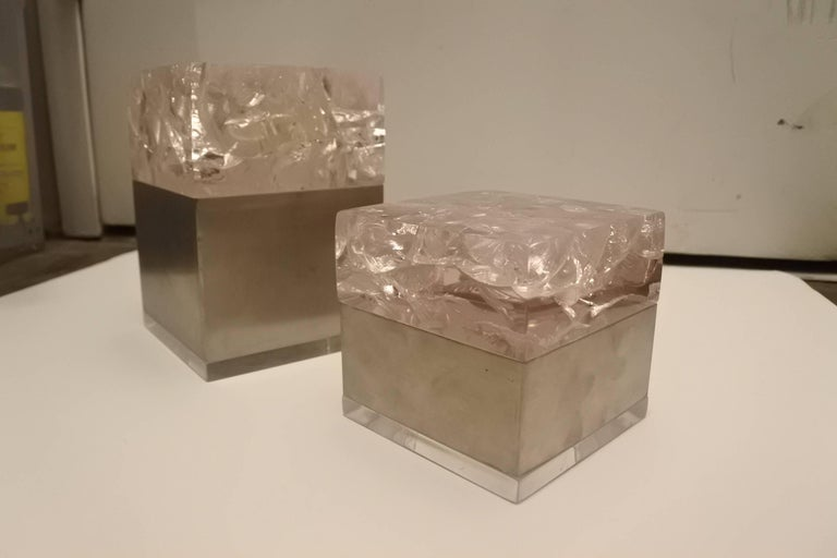 Modern Pair of Phenomenal French 1970s Resin and Stainless Boxes by Pierre Giraudon For Sale