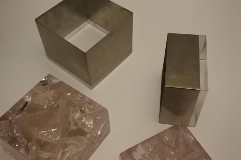 Pair of Phenomenal French 1970s Resin and Stainless Boxes by Pierre Giraudon 6
