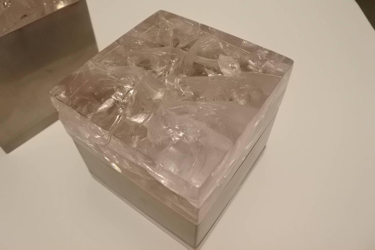 Pair of Phenomenal French 1970s Resin and Stainless Boxes by Pierre Giraudon In Good Condition For Sale In New York, NY
