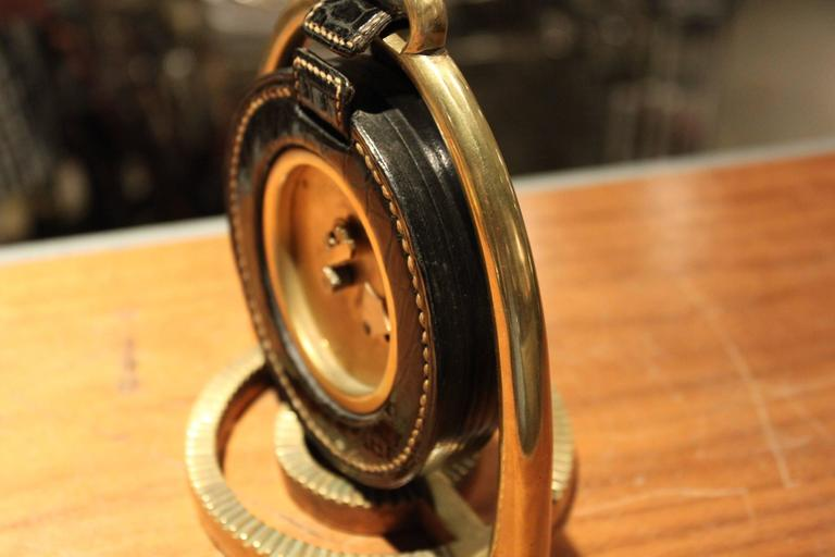Brass Hermes Dupre Lafon Crocodile Clock For Sale