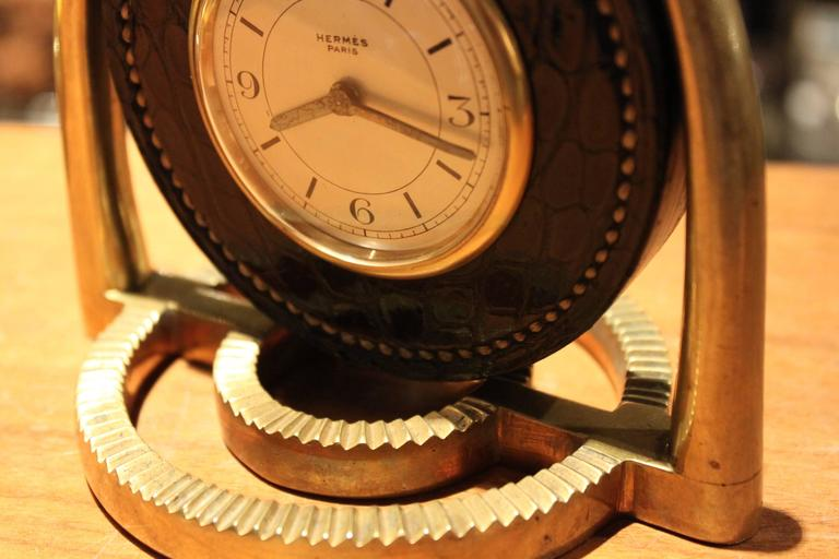 Mid-20th Century Hermes Dupre Lafon Crocodile Clock For Sale