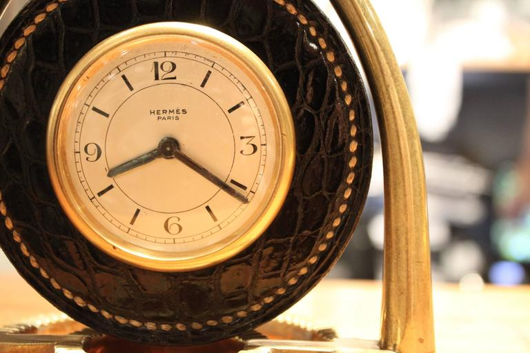 Hermes Dupre Lafon Crocodile Clock In Excellent Condition For Sale In New York, NY