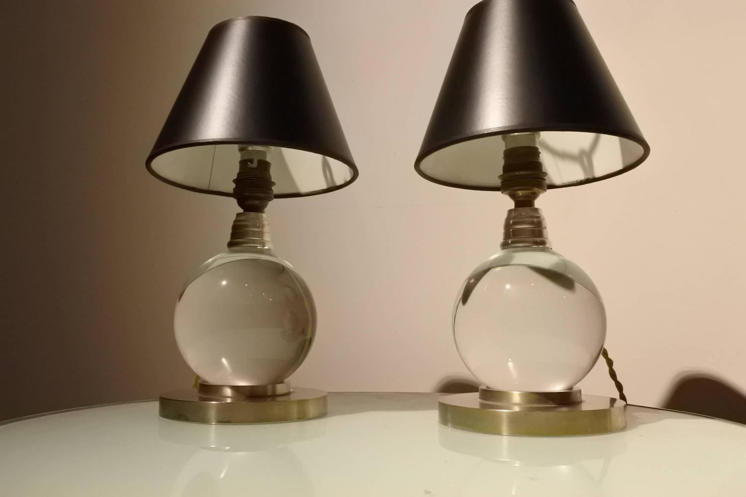 adnet and baccarat crystal ball lamps for sale at 1stdibs. Black Bedroom Furniture Sets. Home Design Ideas