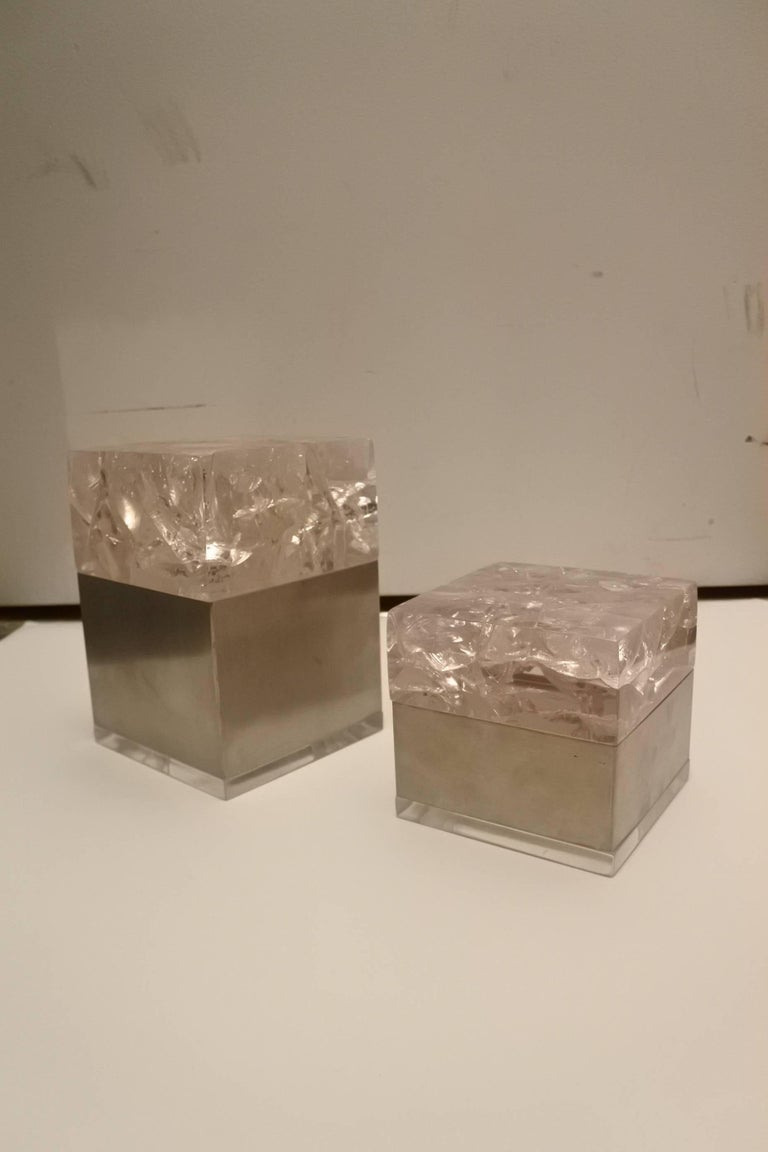 Pair of Phenomenal French 1970s Resin and Stainless Boxes by Pierre Giraudon 2