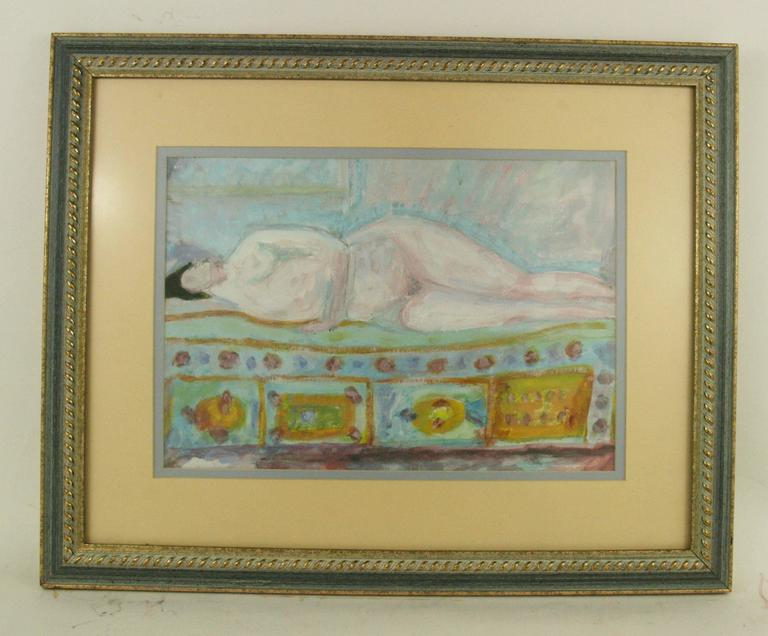 5-2547 Gouache on paper displayed in a custom blue giltwood frame. Image size 9.5 Signed Brunelli