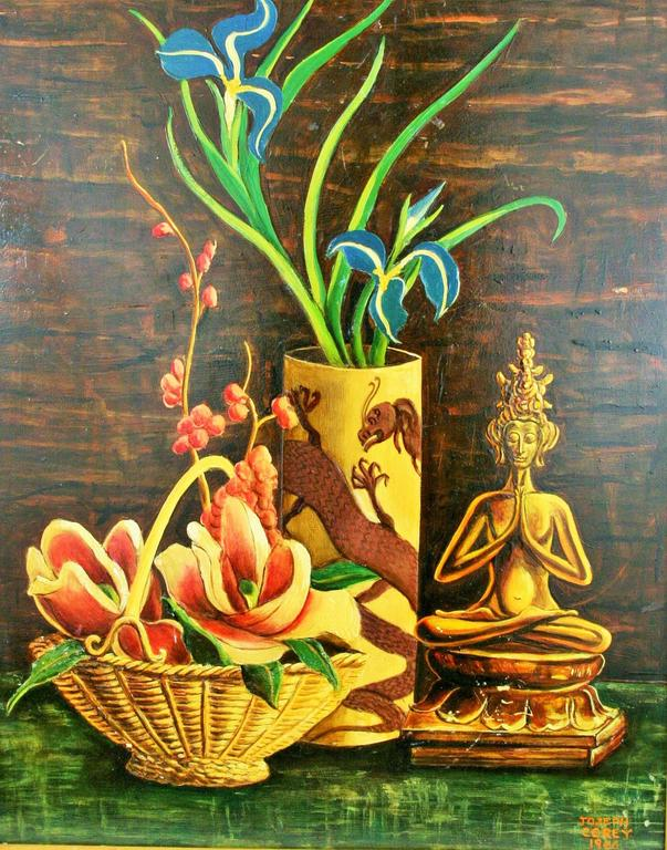 """5-2581 oriental stillife set in a faux wood frame, image size 14.5"""" x 19.5"""". Signed Joseph Corey 1966. Painted on board."""