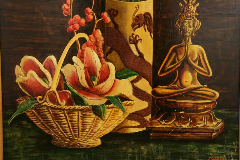 Mid-20th Century Oil Painting-Oniental Still Life For Sale