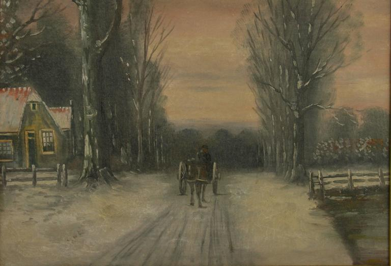 5-2568 impressionist style oil painting of a Dutch winter scene. Set in a giltwood frame image size 17.5x23.5